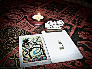 Thoth Death + Kabbalah Deck meditation setting