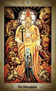 The Hierophant, Thoth Tarot, painted by Lady Frieda Harris according to Aleister Crowley's instructions