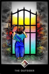 Osho Zen Tarot, The Outsider (Five of Pentacles)  Osho Zen Tarot Copyright© 2012, OSHO International Foundation