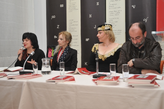 Croatian literary critic Darija ZIlic speaking at the launch of Koret on the Asphalt (left to right: Darija ZIlic, Tanja Bakic, L.R. Stefanovic, Danilo Ivezic - the editor of the anthology